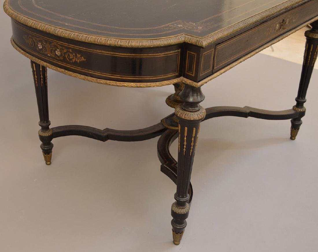 19th c. French table with bronze mounts and inlaid with - 7