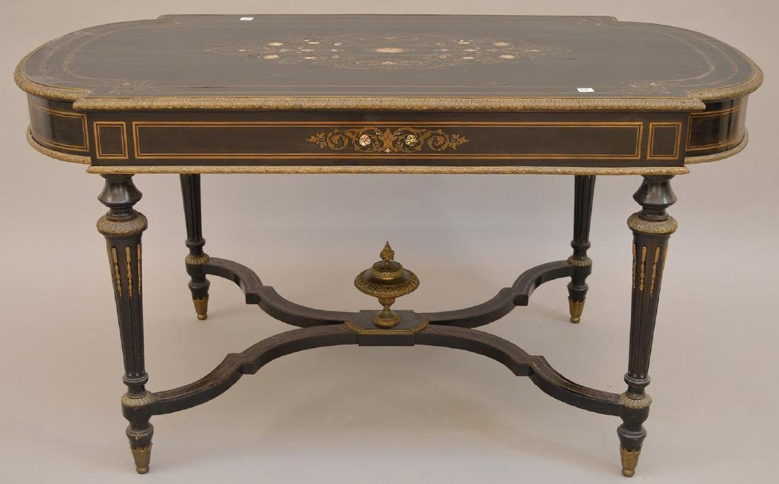 19th c. French table with bronze mounts and inlaid with - 9