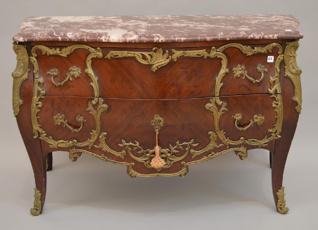 19th c. French serpentine 2 drawer French chest with