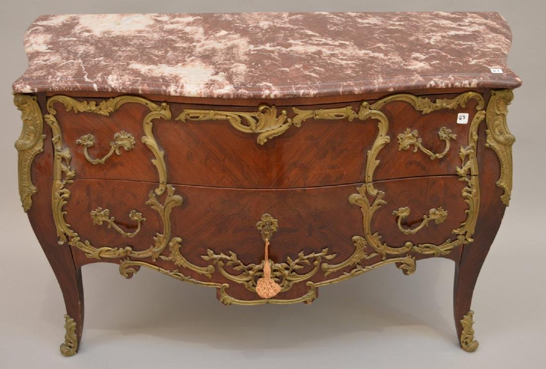 19th c. French serpentine 2 drawer French chest with - 2