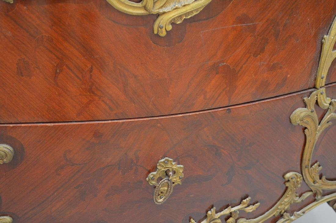 19th c. French serpentine 2 drawer French chest with - 4