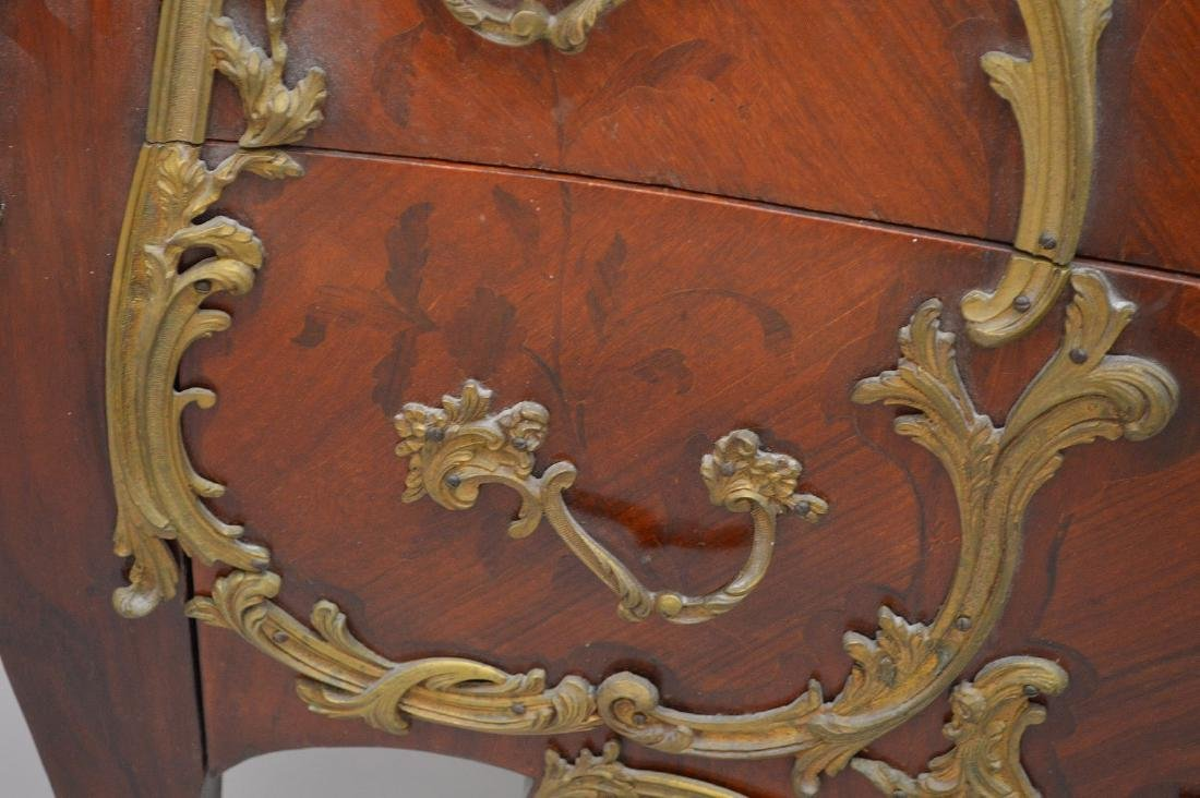 19th c. French serpentine 2 drawer French chest with - 5