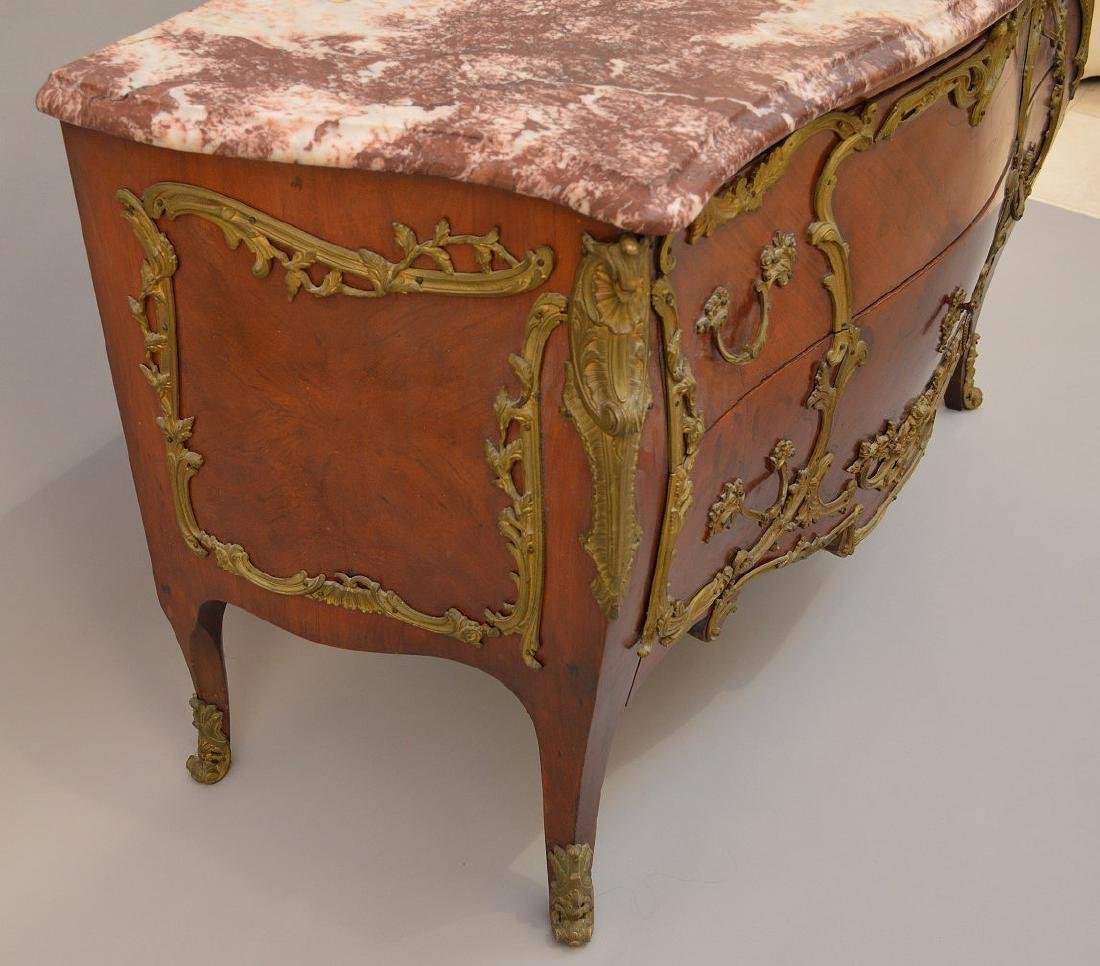19th c. French serpentine 2 drawer French chest with - 6