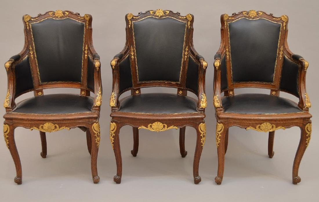 THREE 19th c. French chairs, oak with black leather