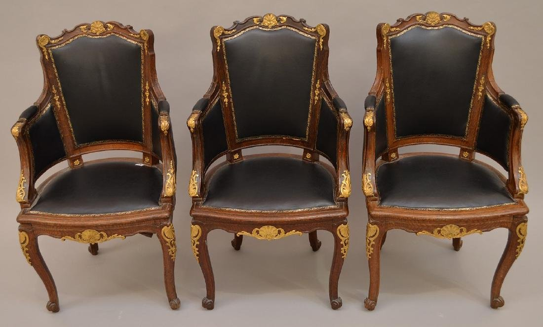 THREE 19th c. French chairs, oak with black leather - 2