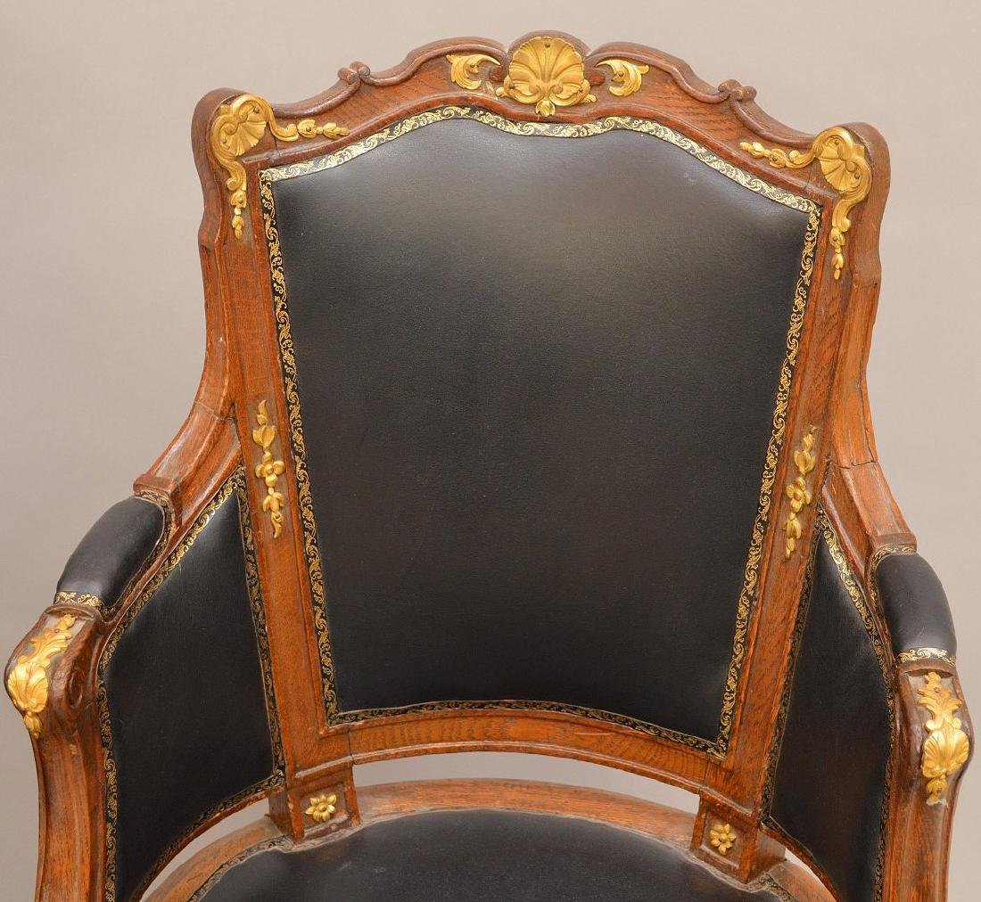 THREE 19th c. French chairs, oak with black leather - 3