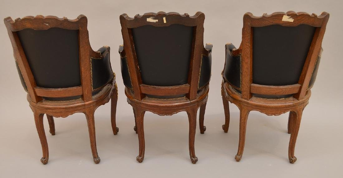 THREE 19th c. French chairs, oak with black leather - 4