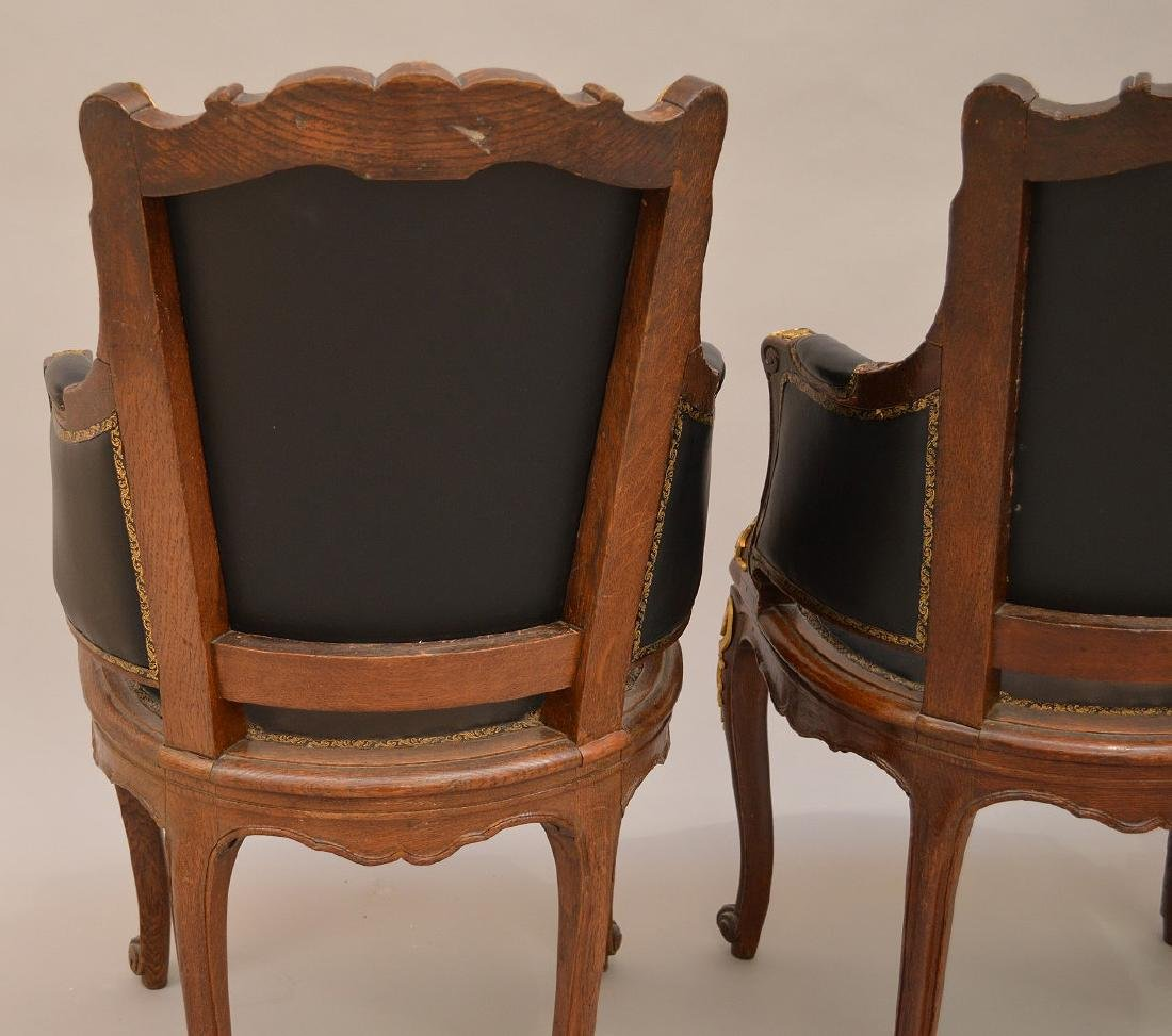 THREE 19th c. French chairs, oak with black leather - 5