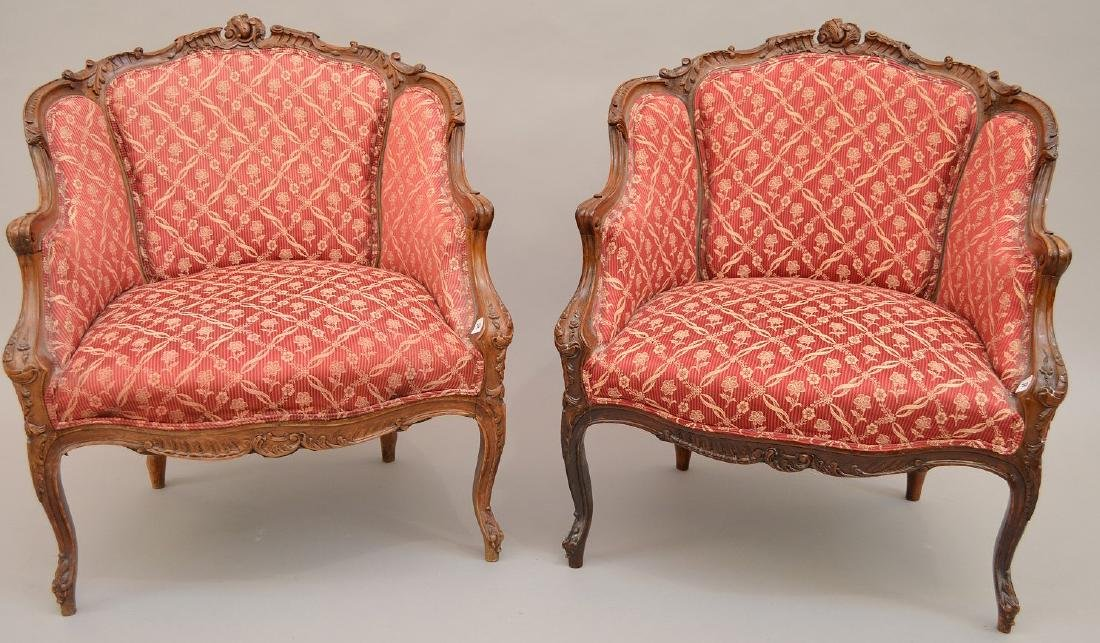 Pair finely carved upholsterd bergeres, red and cream