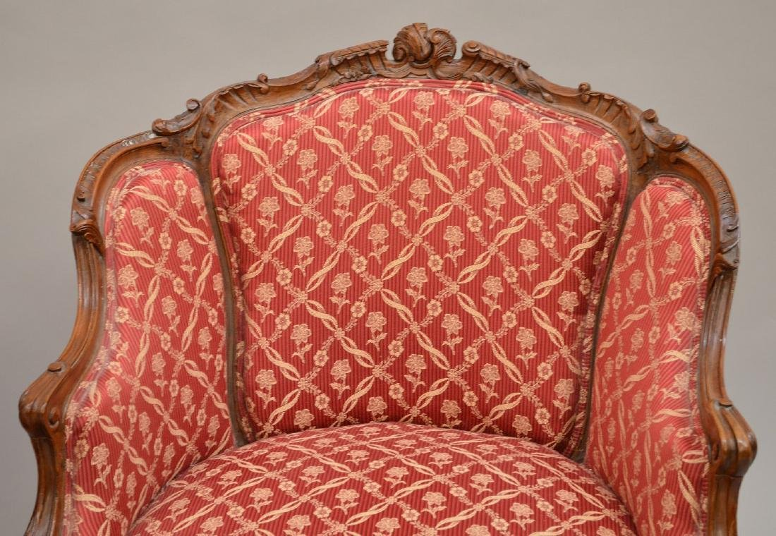 Pair finely carved upholsterd bergeres, red and cream - 2