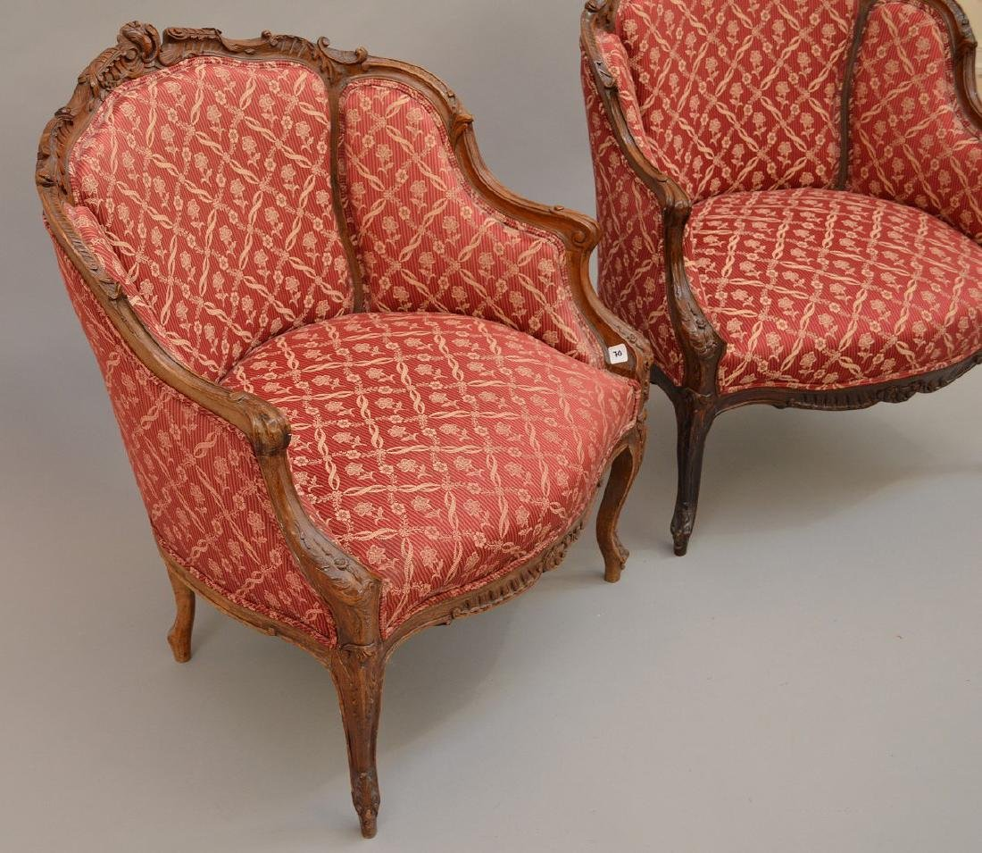 Pair finely carved upholsterd bergeres, red and cream - 3
