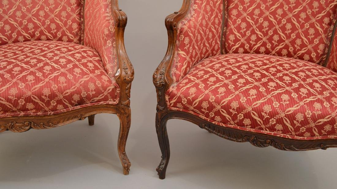 Pair finely carved upholsterd bergeres, red and cream - 4