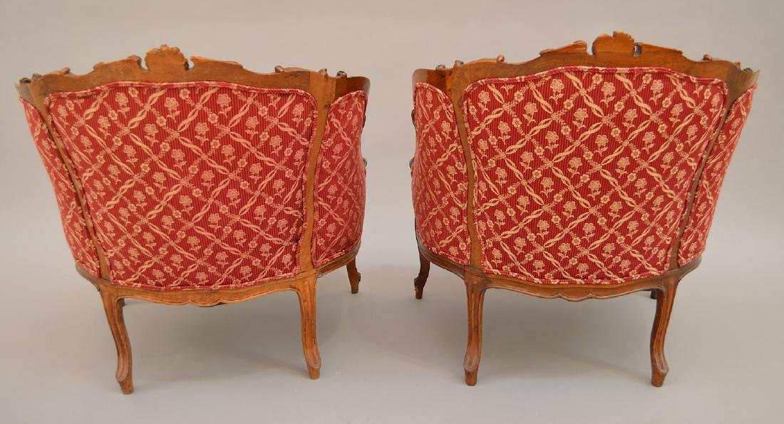 Pair finely carved upholsterd bergeres, red and cream - 5