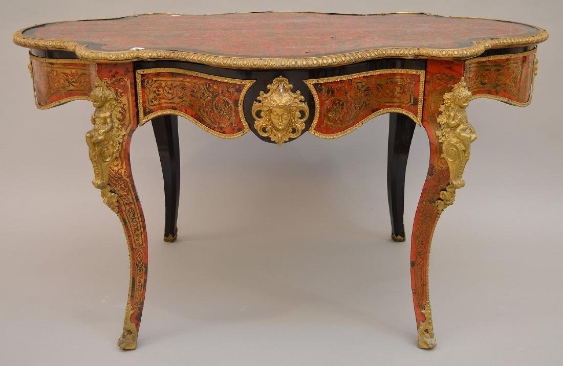19th c. Boulle center table/desk with matching figural