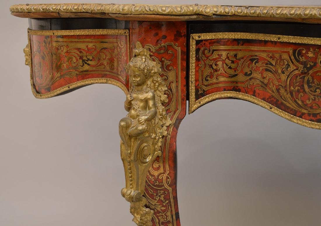 19th c. Boulle center table/desk with matching figural - 3