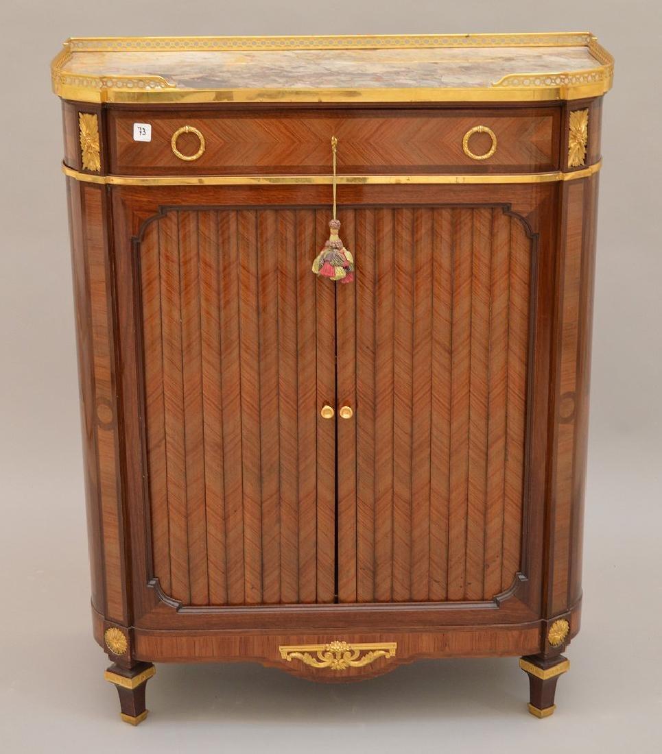Antique Mercier Freres bronze mounted demi lune cabinet