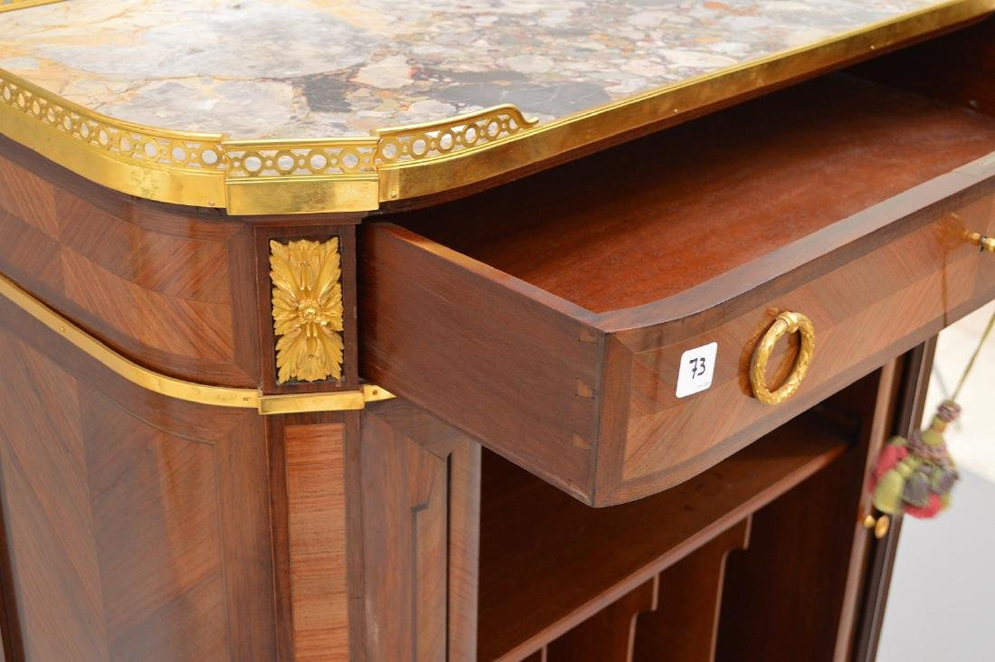 Antique Mercier Freres bronze mounted demi lune cabinet - 3