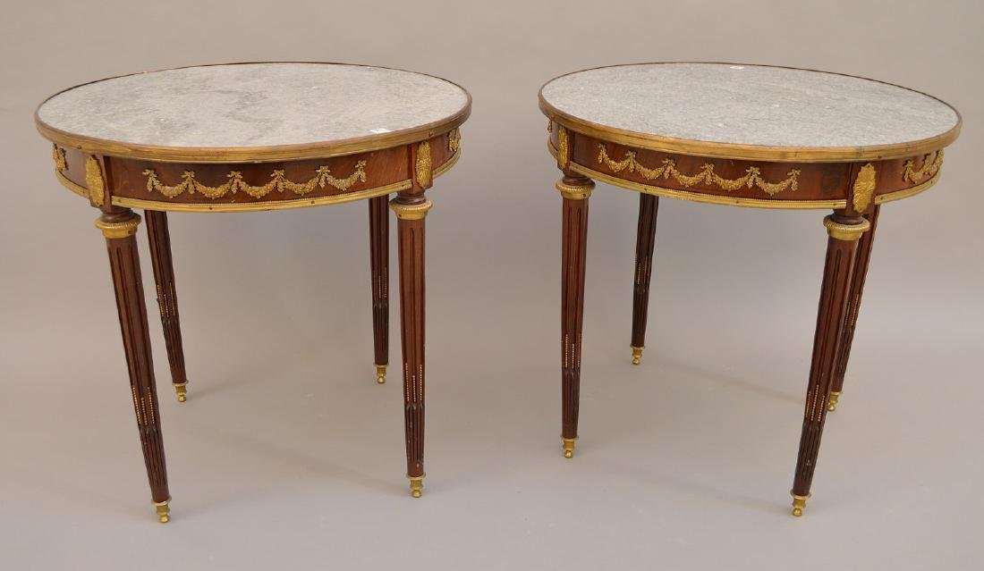 Pair 19th c. French tables, mahogany with bronze mounts