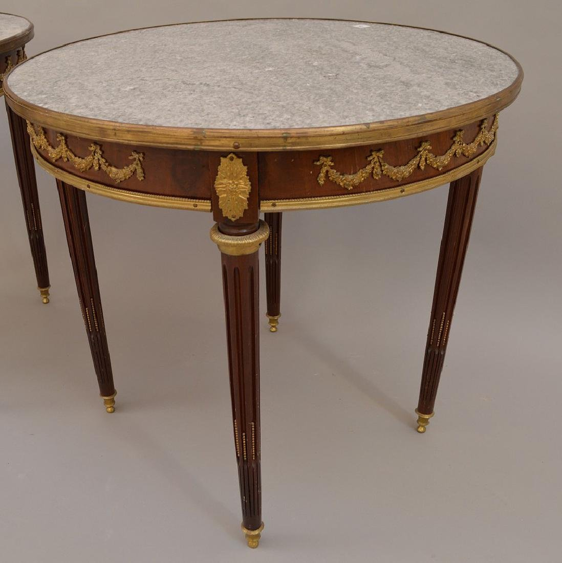 Pair 19th c. French tables, mahogany with bronze mounts - 2
