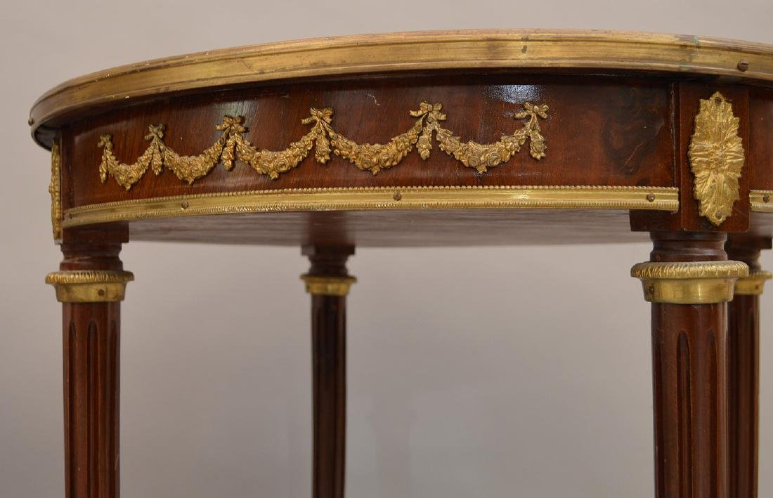 Pair 19th c. French tables, mahogany with bronze mounts - 5