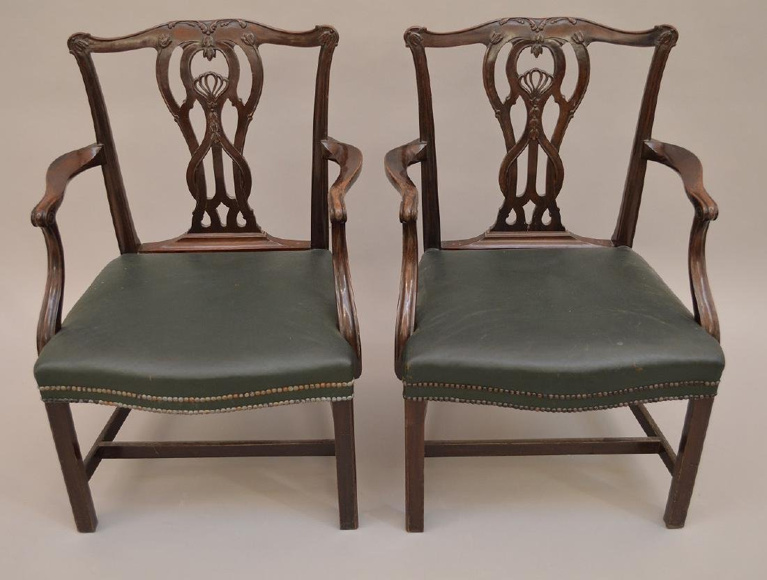 "Pair 19th c. carved mahogany arm chairs, 37""h x 28""w x - 2"