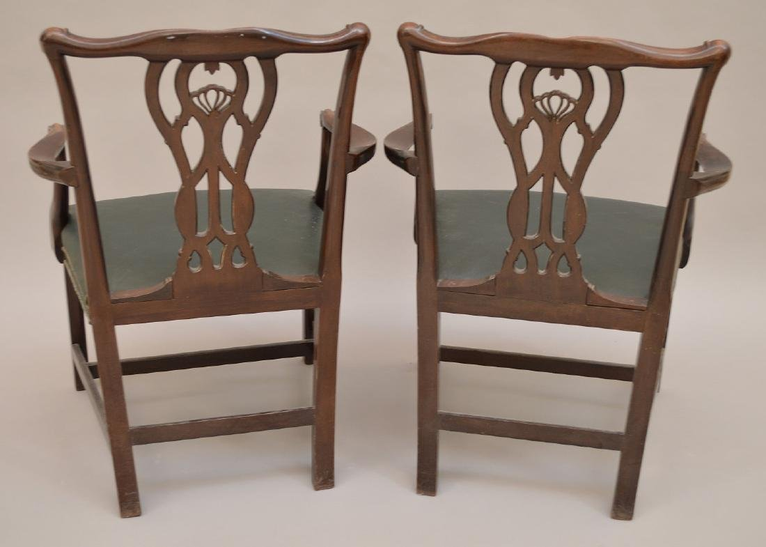 "Pair 19th c. carved mahogany arm chairs, 37""h x 28""w x - 4"
