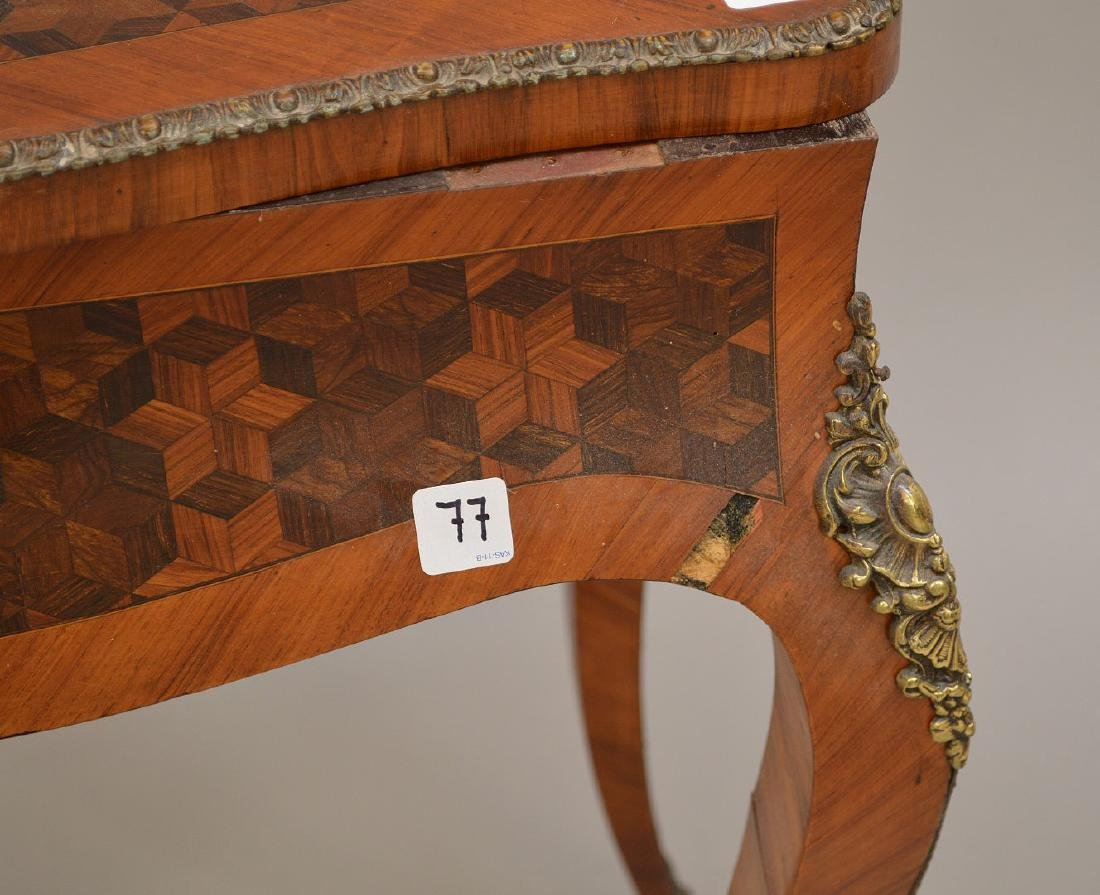 "French inlaid & bronze mounted sewing stand, 28""h x - 3"
