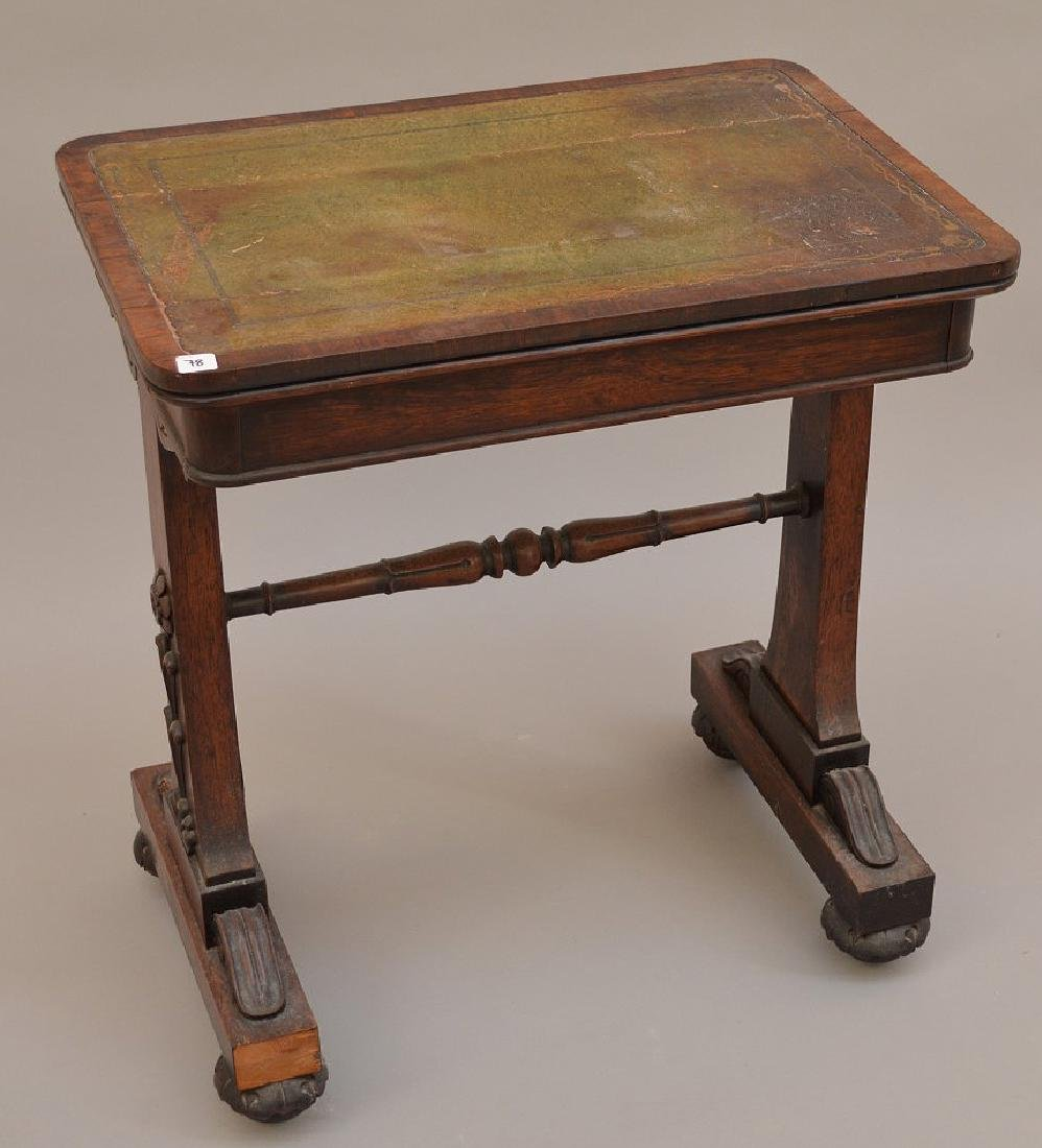 19th c. Continental writing table with as is leather