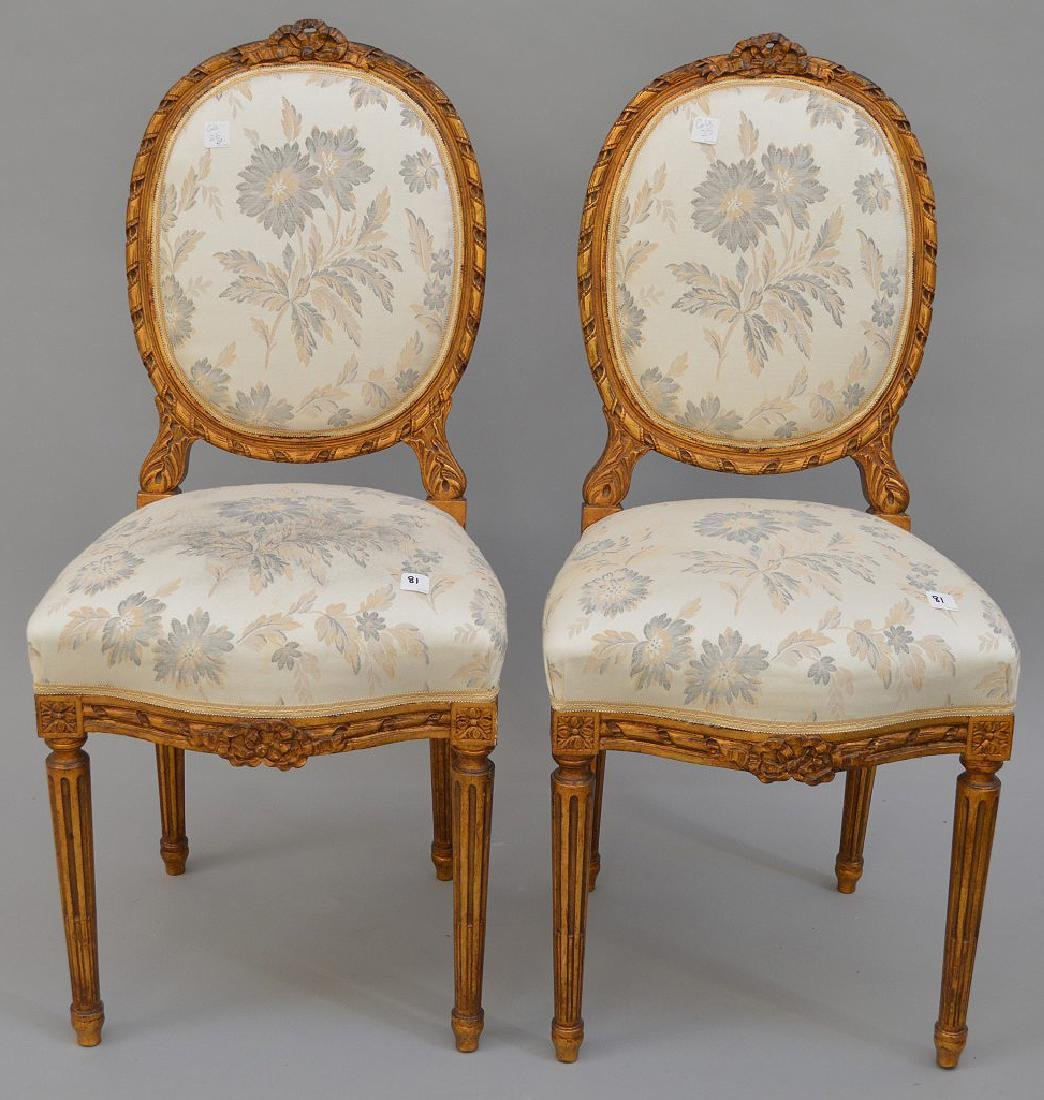 """Pair carved giltwood & upholstered side chairs, 36""""h x"""