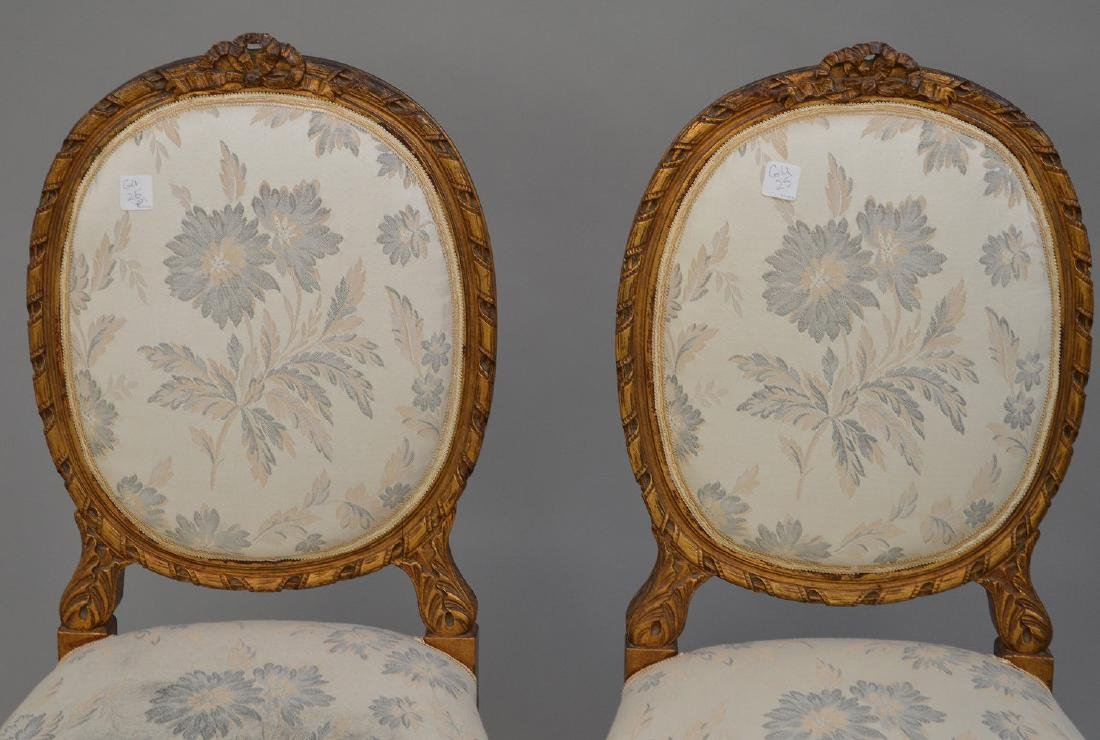 """Pair carved giltwood & upholstered side chairs, 36""""h x - 2"""