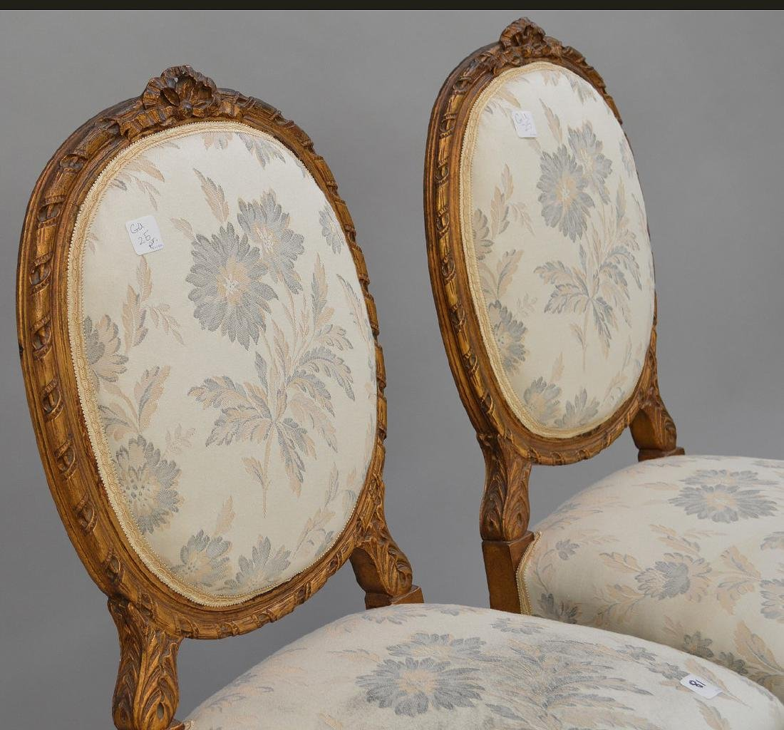 """Pair carved giltwood & upholstered side chairs, 36""""h x - 3"""