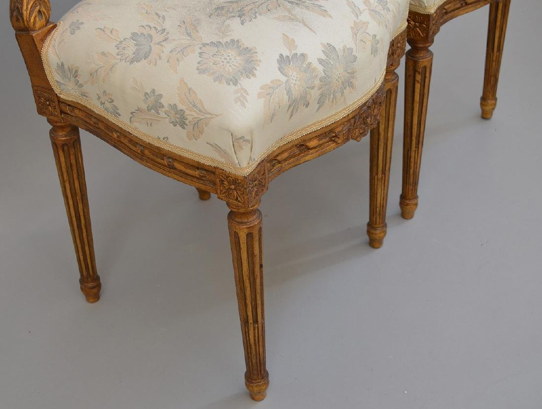 """Pair carved giltwood & upholstered side chairs, 36""""h x - 4"""
