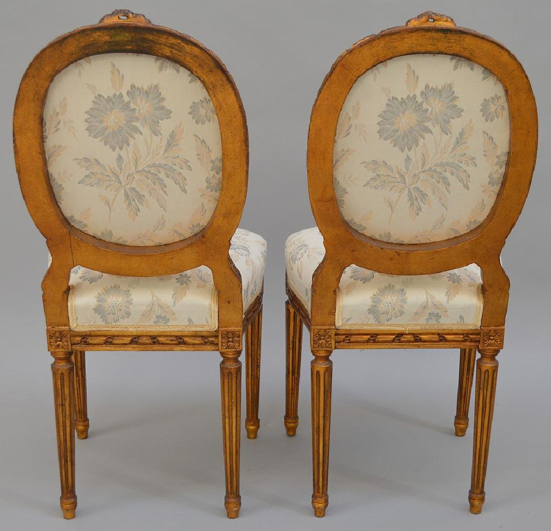 """Pair carved giltwood & upholstered side chairs, 36""""h x - 5"""