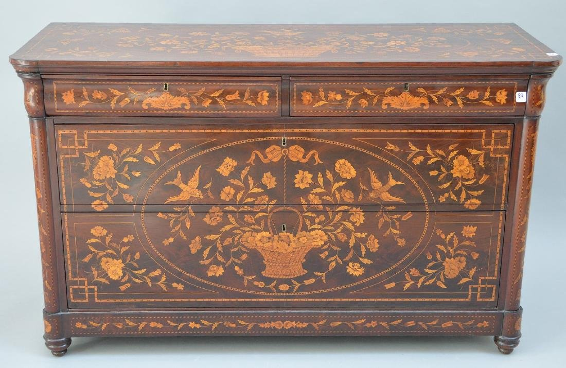 19th c. Dutch Marquetry inlaid mahogany chest, floral - 10