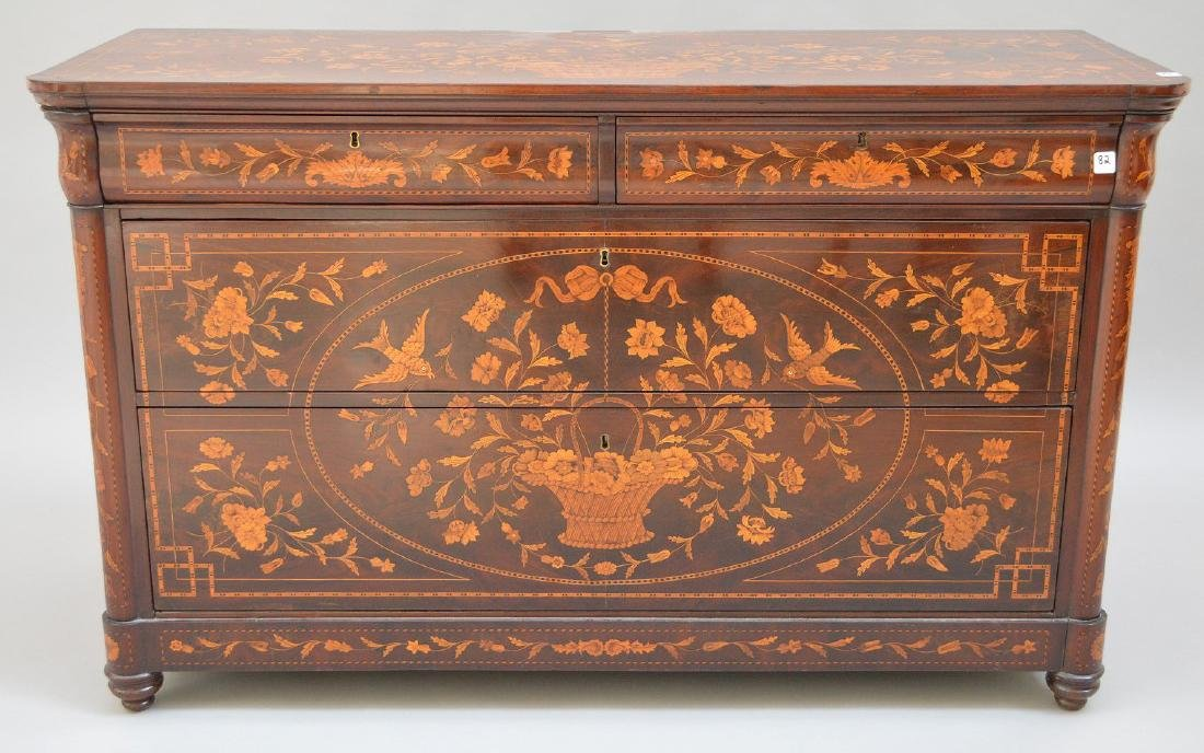 19th c. Dutch Marquetry inlaid mahogany chest, floral