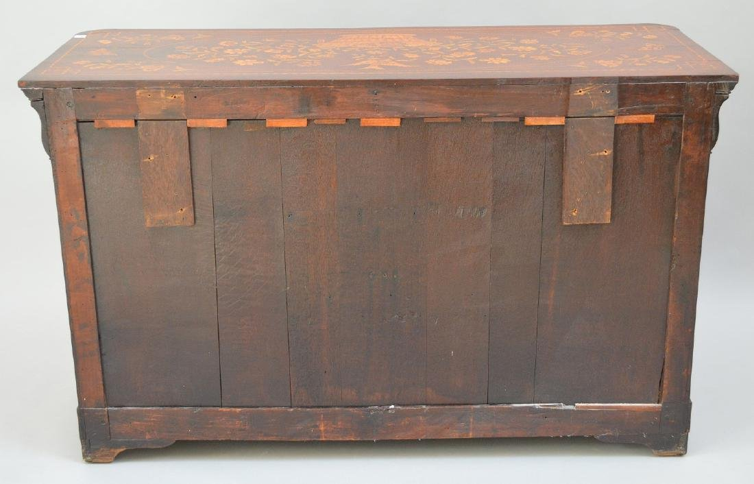 19th c. Dutch Marquetry inlaid mahogany chest, floral - 6