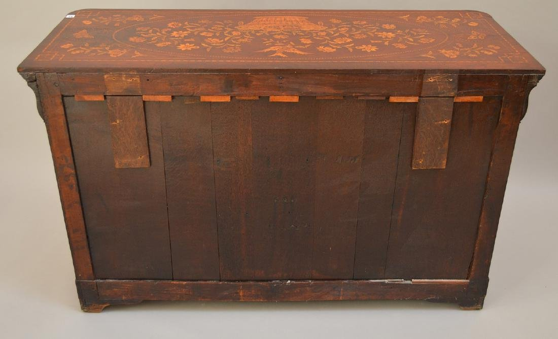 19th c. Dutch Marquetry inlaid mahogany chest, floral - 7