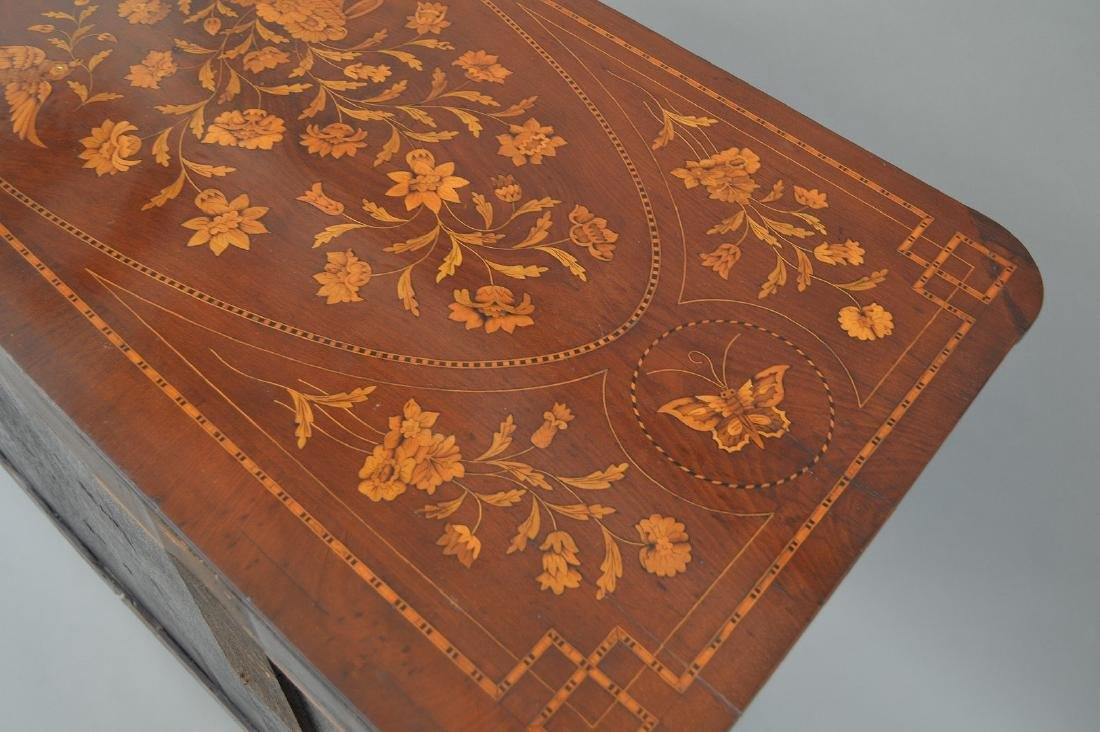 19th c. Dutch Marquetry inlaid mahogany chest, floral - 8