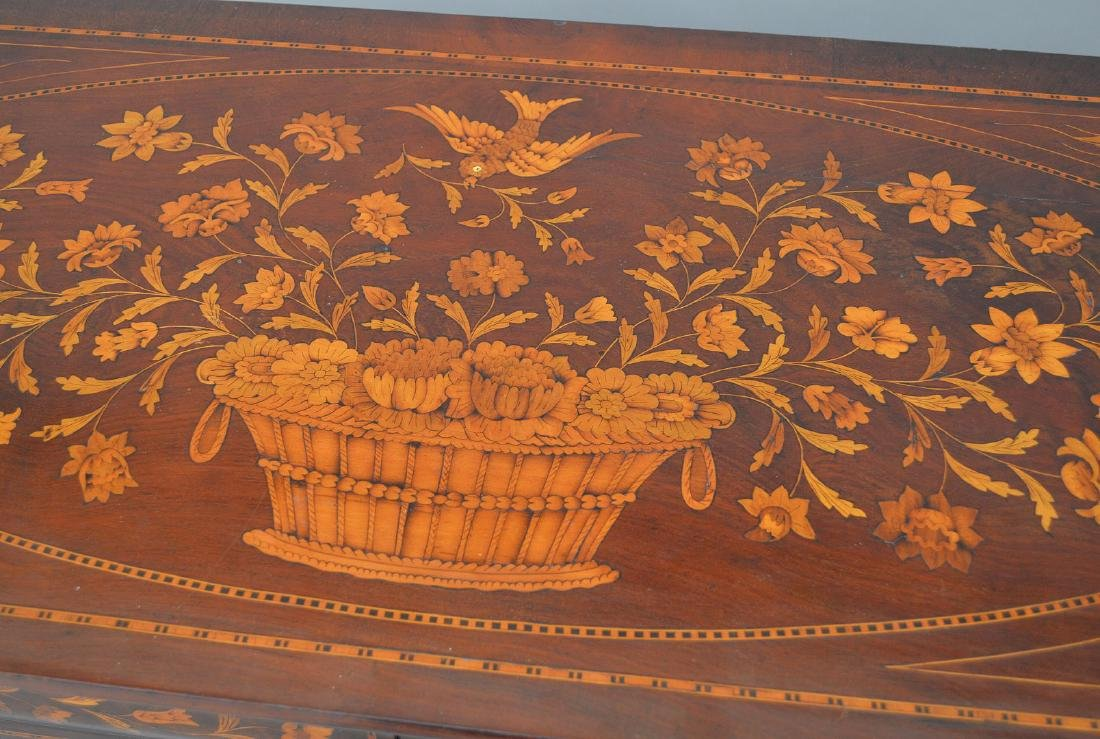 19th c. Dutch Marquetry inlaid mahogany chest, floral - 9