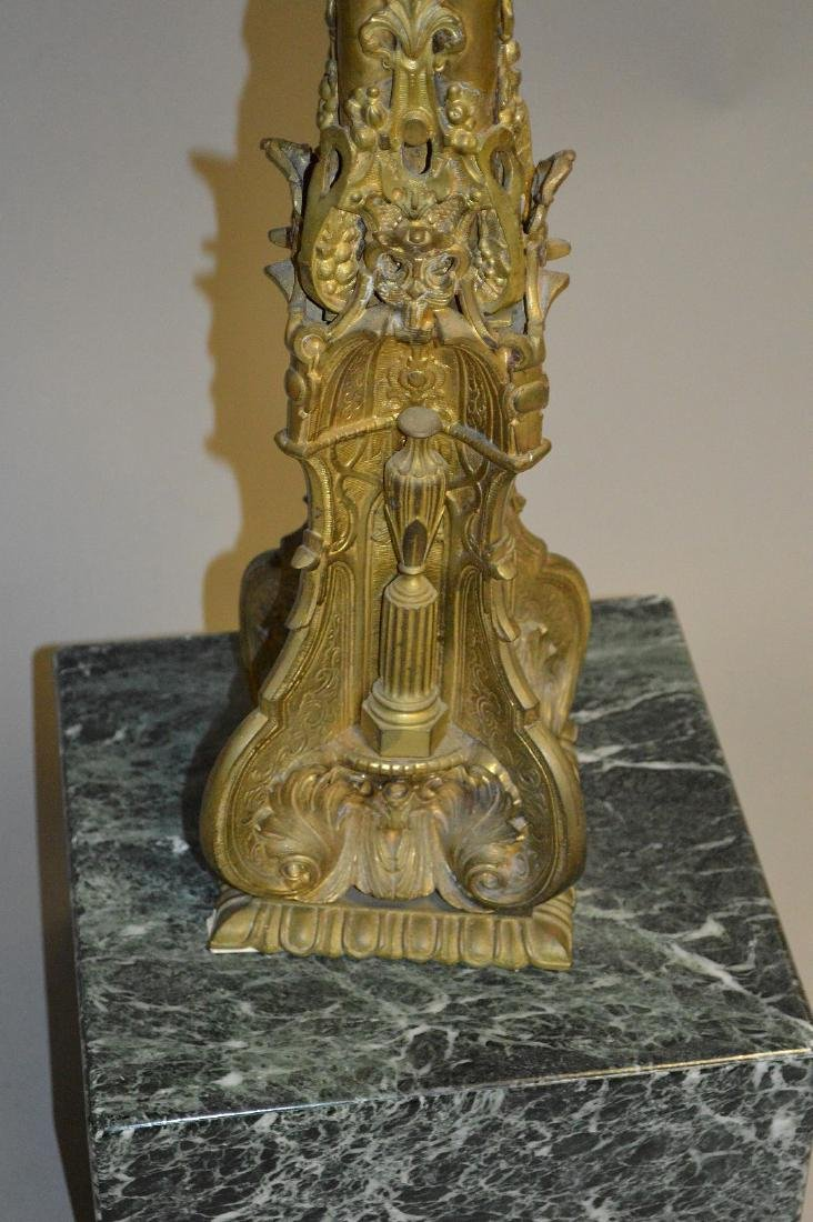 Bronze pedestal with Green Marble top and base, 39 - 2