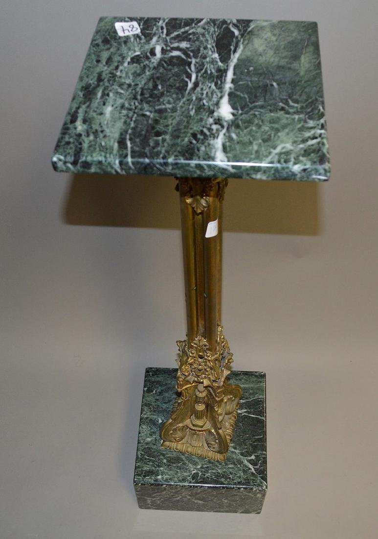 Bronze pedestal with Green Marble top and base, 39 - 4