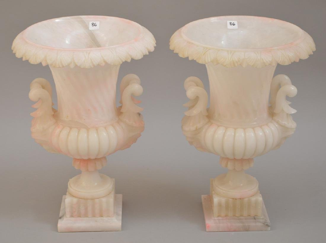 Pair large marble urn form vases with pink shading