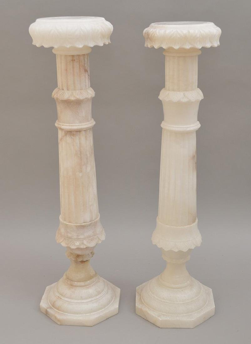 Pair White Alabaster Pedestals