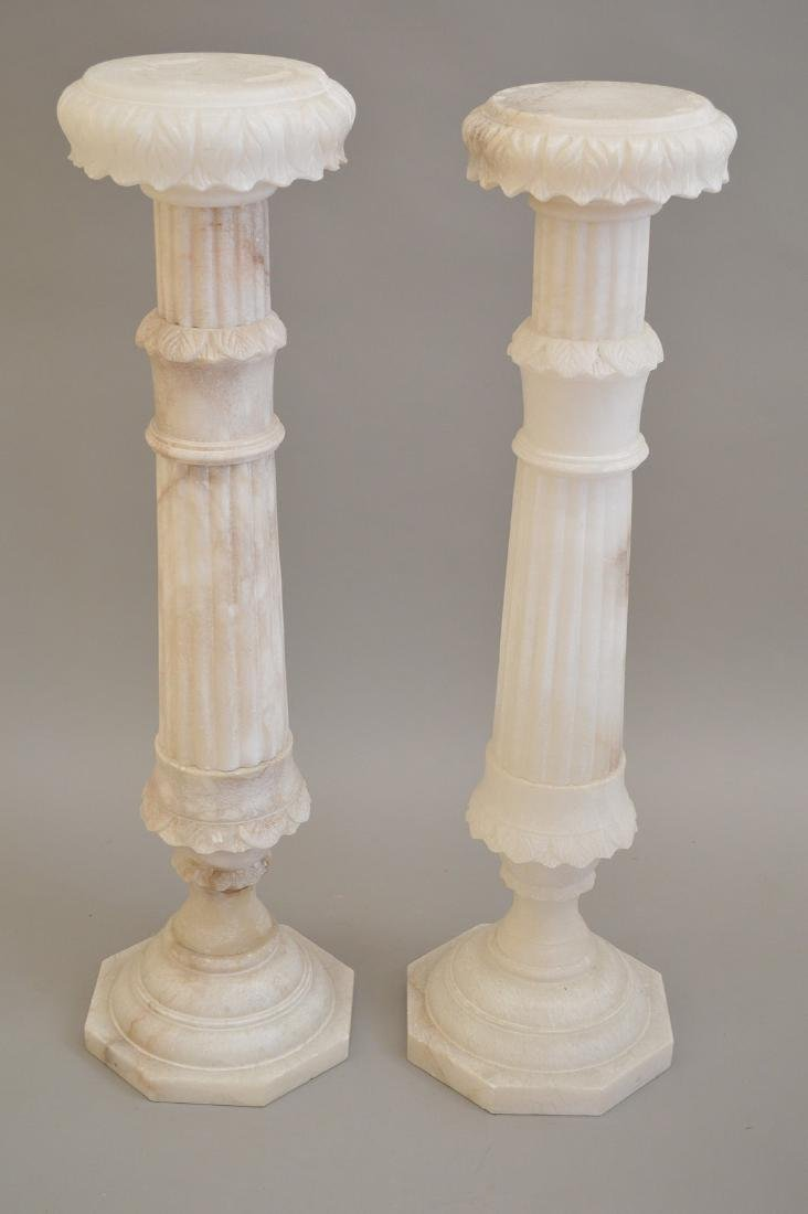 Pair White Alabaster Pedestals - 2
