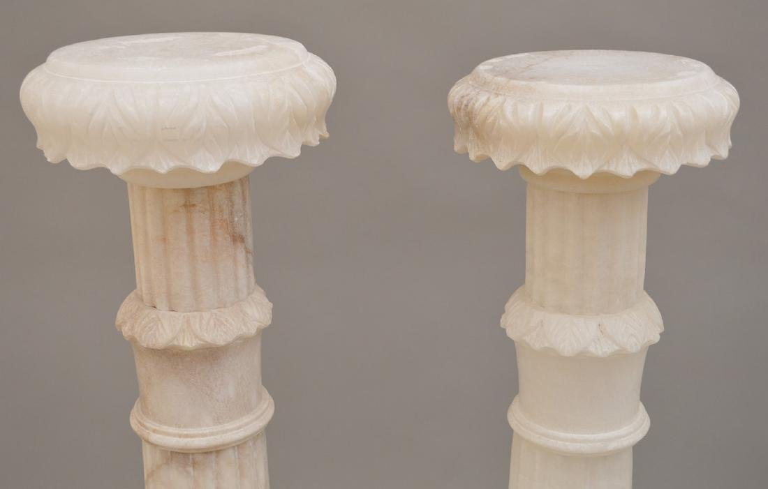 Pair White Alabaster Pedestals - 3