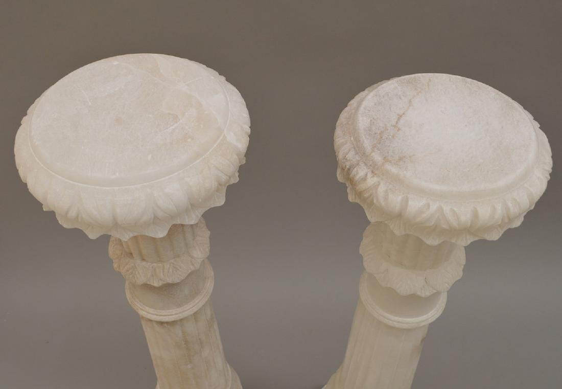 Pair White Alabaster Pedestals - 5