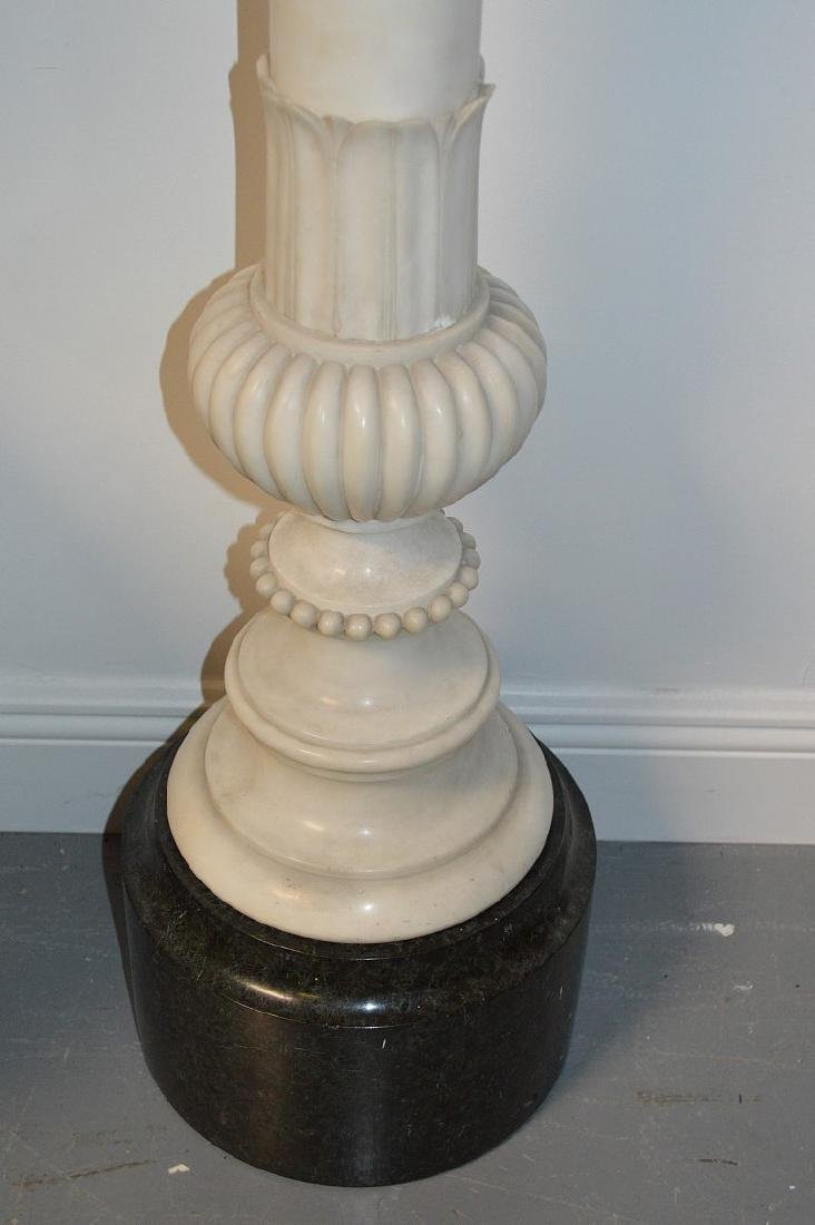 White carved marble pedestal, series of rings with - 4