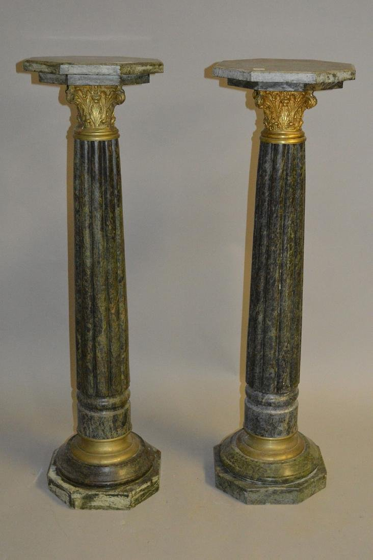 Pair green reeded Marble pedestals with bronze capitals