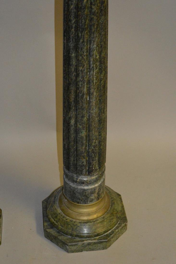 Pair green reeded Marble pedestals with bronze capitals - 2