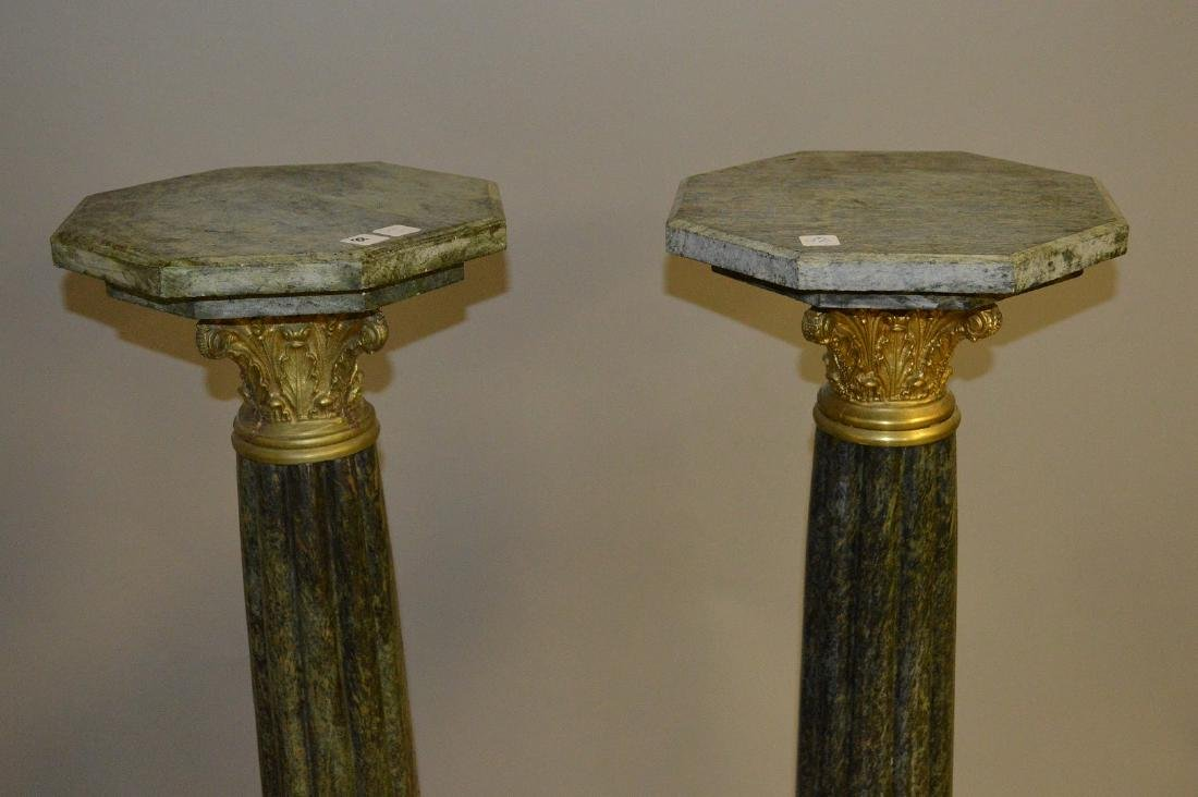 Pair green reeded Marble pedestals with bronze capitals - 3